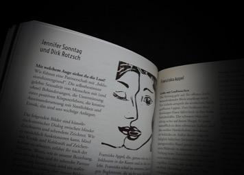 """Textauszug aus dem Buch, in dem die Namen Jennifer Sonntag, Dirk Rotzsch und Franziska Appel und die Überschrift """"Mit welchem Auge siehst du die Lust"""" zu lesen sind. Außerdem ist ein Linolschnitt von zwei Frauengesichtern in schwarz-weiß zu sehen"""
